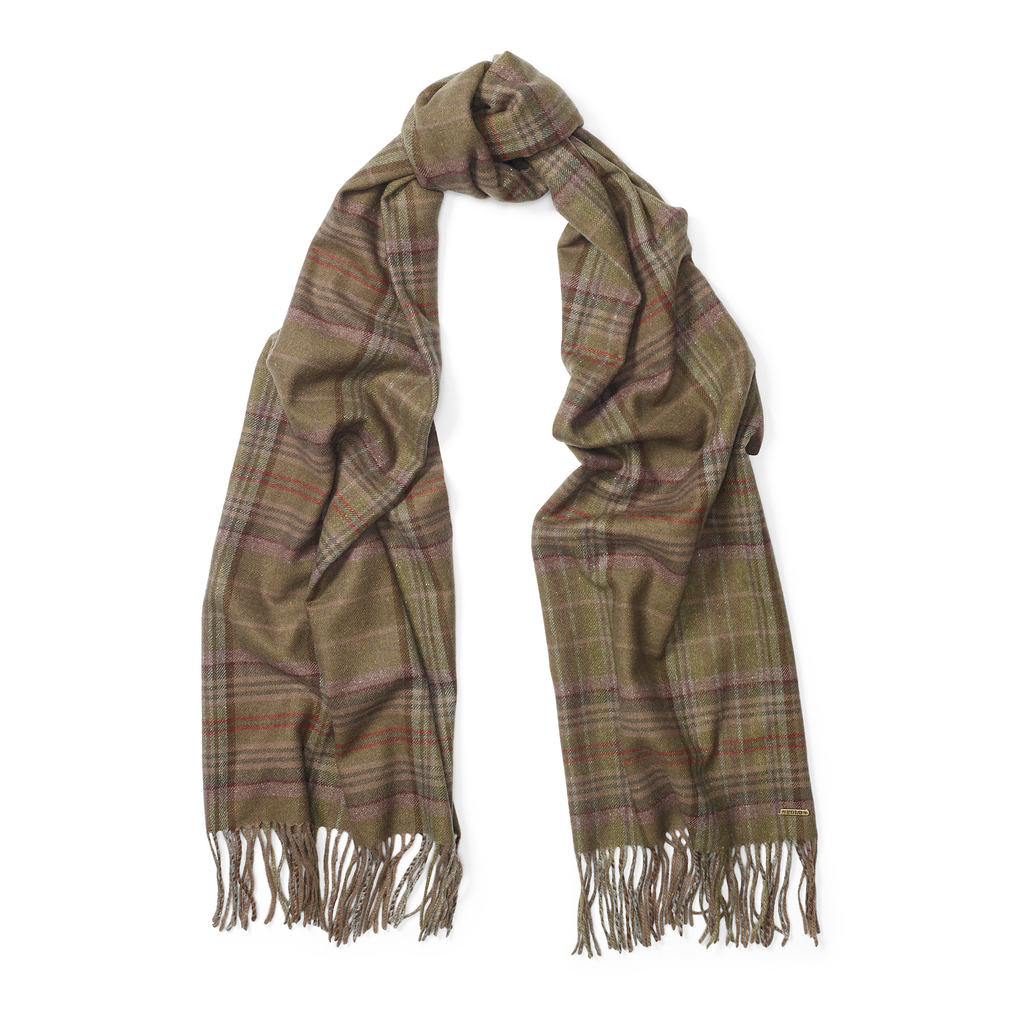 polo ralph plaid wool blend scarf in brown lyst