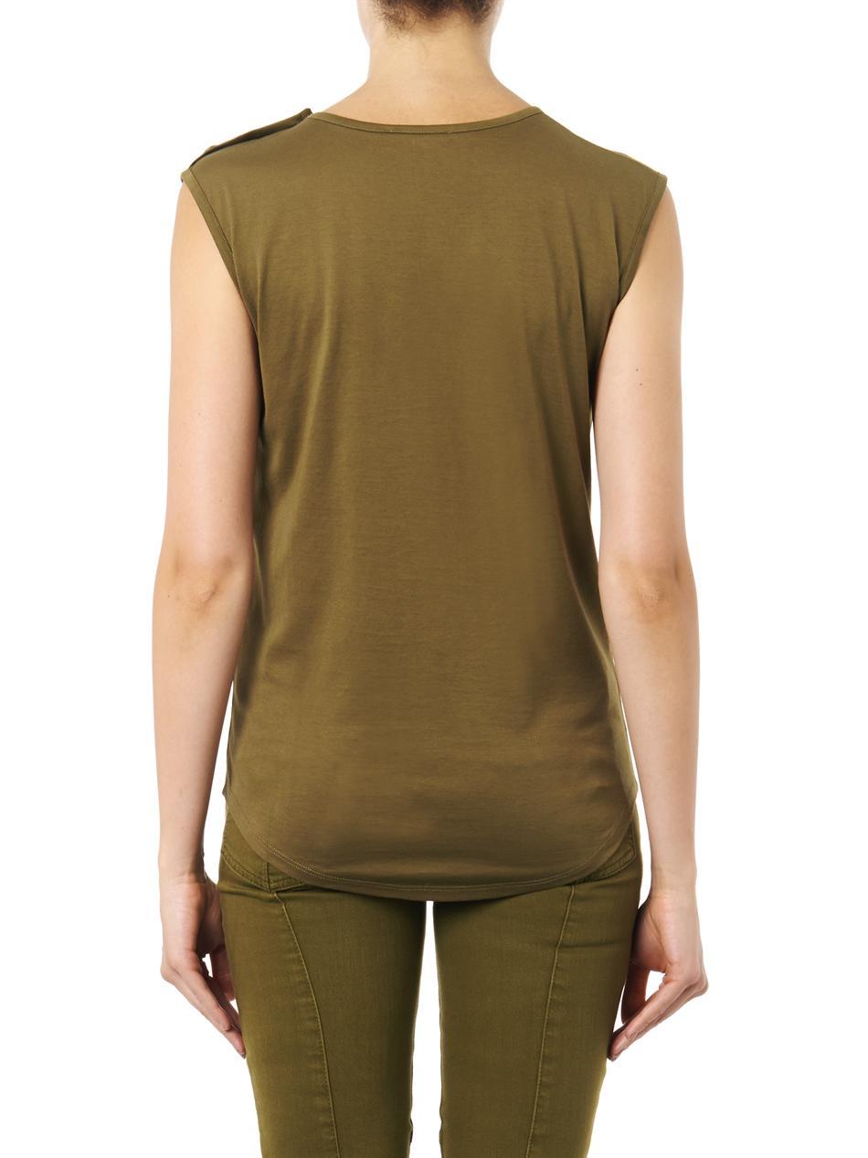 766de1b85d3616 Lyst - Balmain Logoprint Sleeveless Top in Green