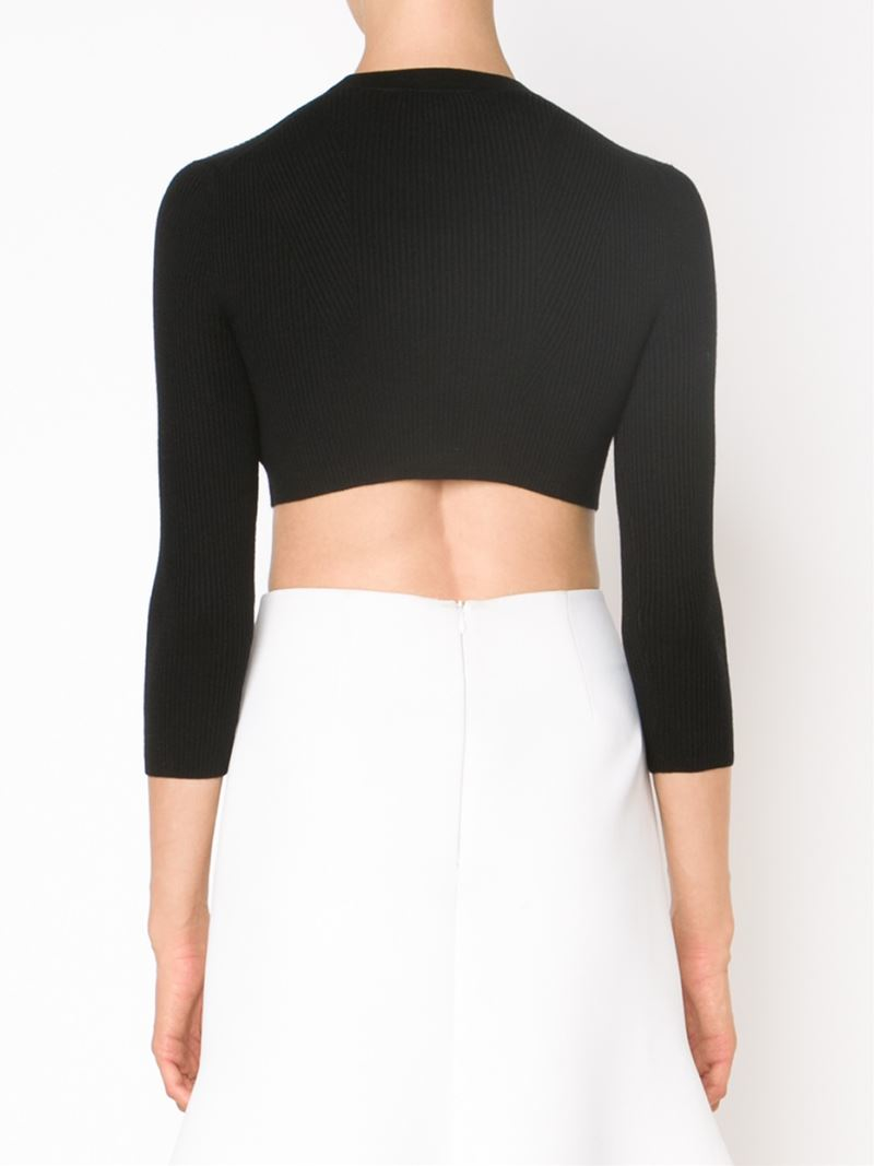 58fde25c42 Lyst - Narciso Rodriguez Ribbed Knit Cropped Cardigan in Black
