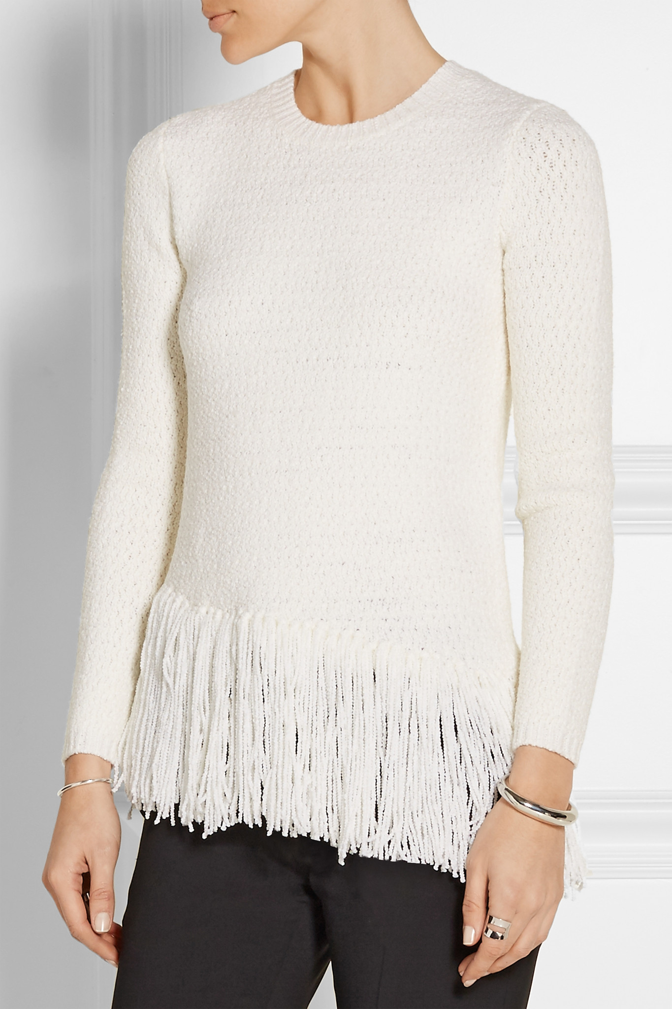Theory Hudina Fringed Stretch Merino Wool-blend Sweater in White ...