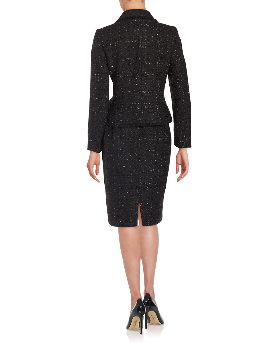 Tahari Two-piece Metallic Tweed Jacket And Skirt Set in ...