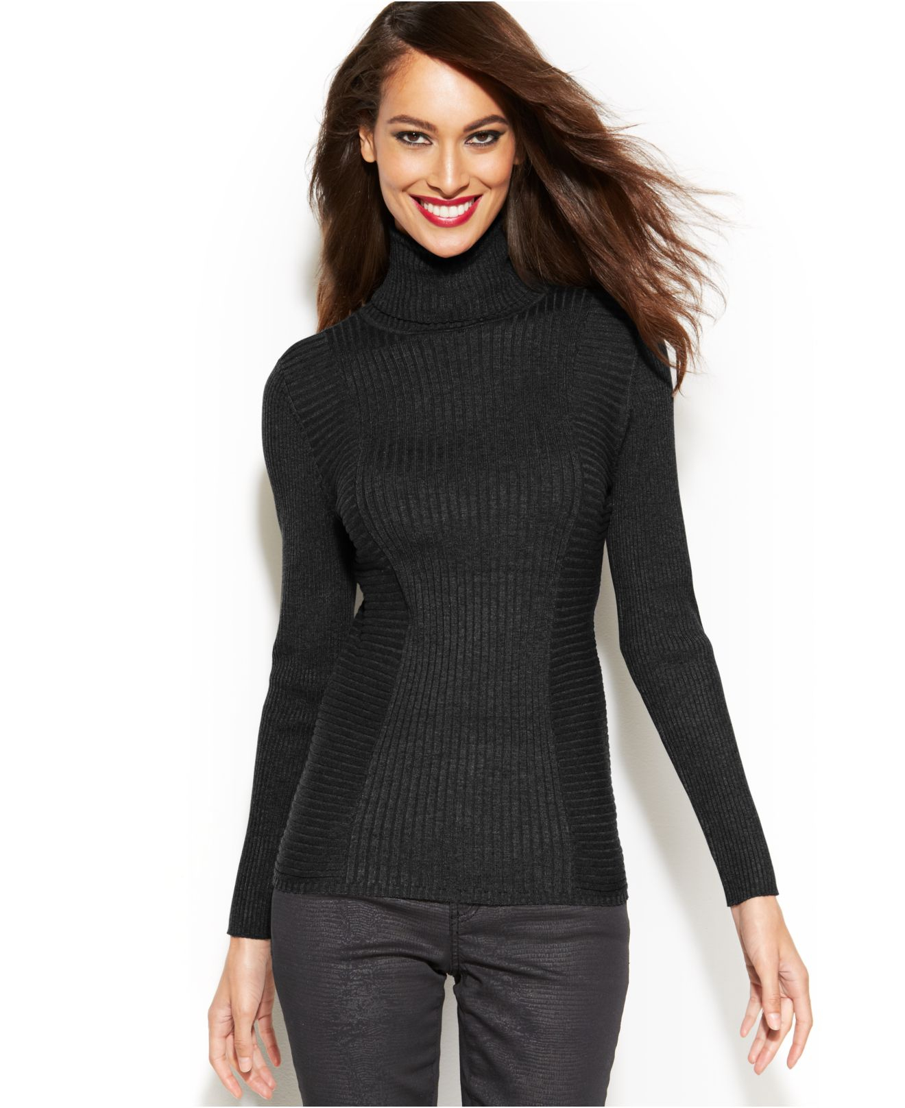 Inc international concepts Ribbed-Knit Turtleneck Sweater in Black ...
