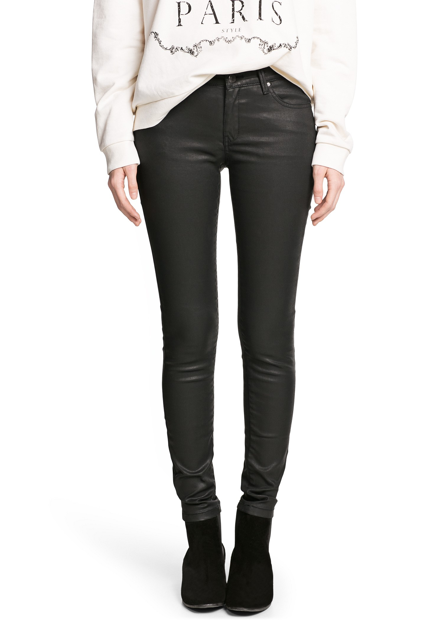 Black Coated Jeans Women