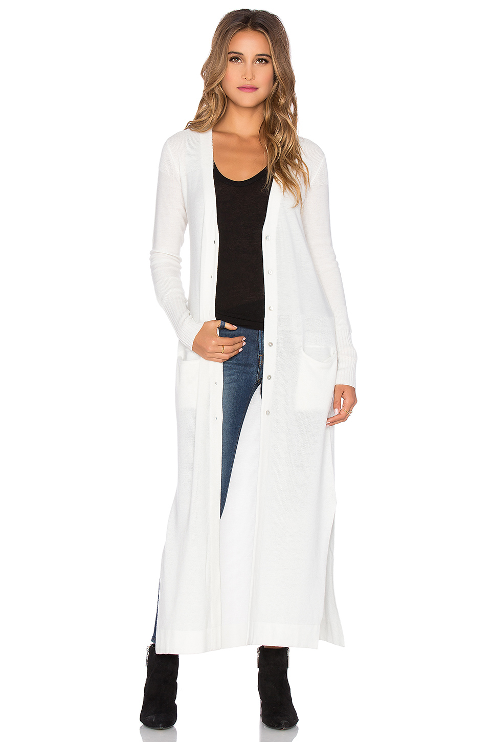 Lamade Mix Stitch Duster Cardigan in White | Lyst