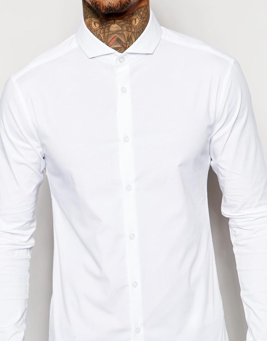Asos skinny shirt in white with cutaway collar in white for White cutaway collar shirt