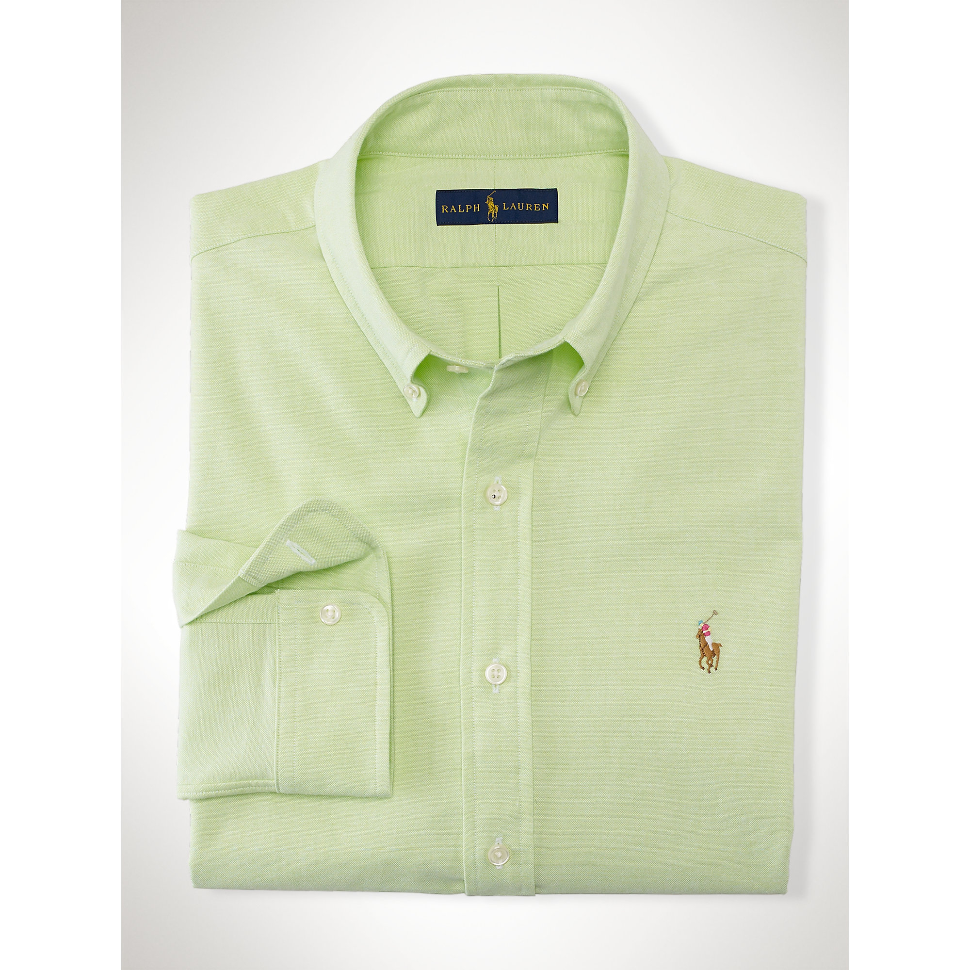 polo ralph lauren slim fit stretch oxford shirt in green. Black Bedroom Furniture Sets. Home Design Ideas