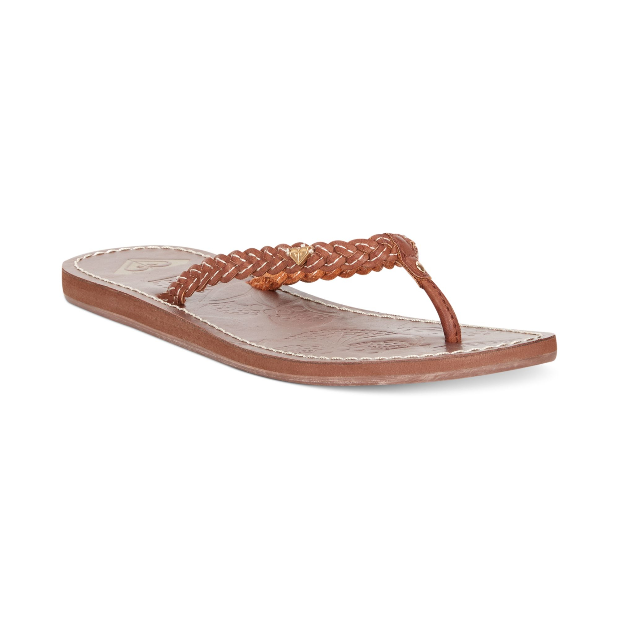 342b77811 Lyst - Roxy Mateo Braided Thong Sandals in Brown