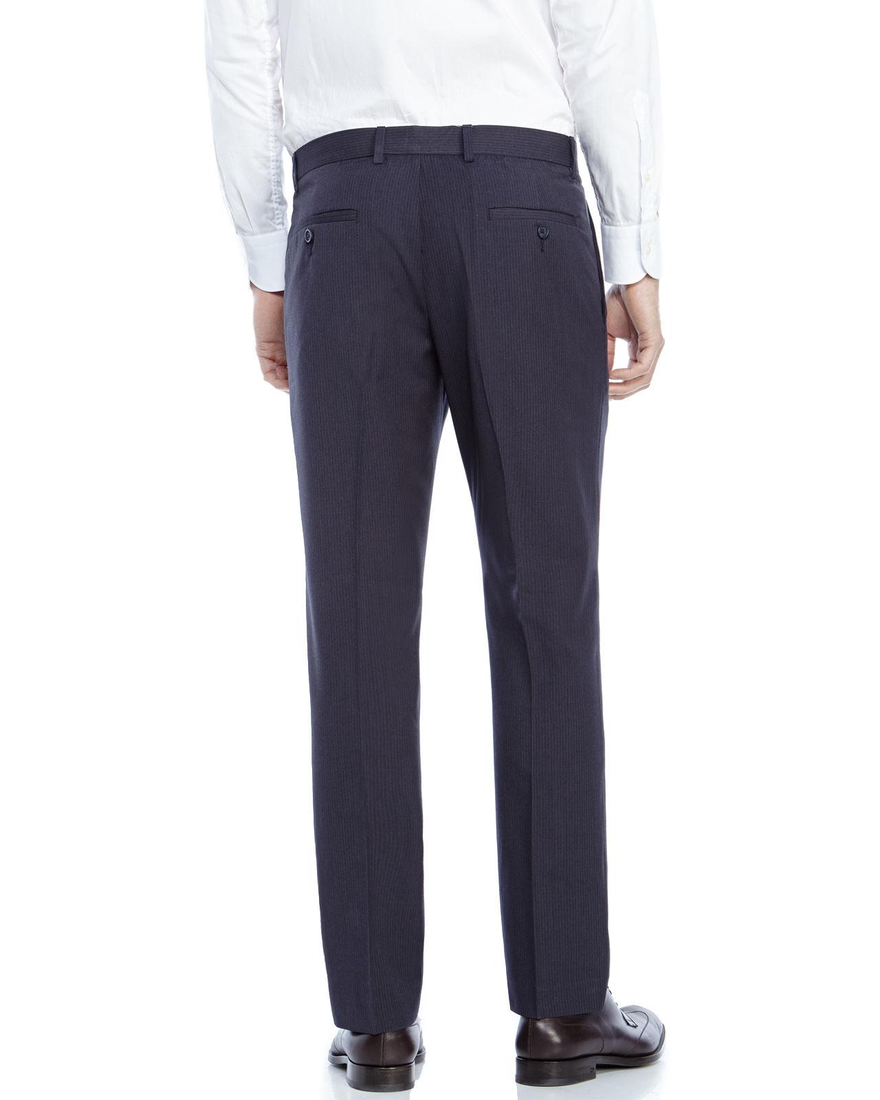 Perry ellis Navy Slim Fit Pinstripe Dress Pants in Blue for Men | Lyst