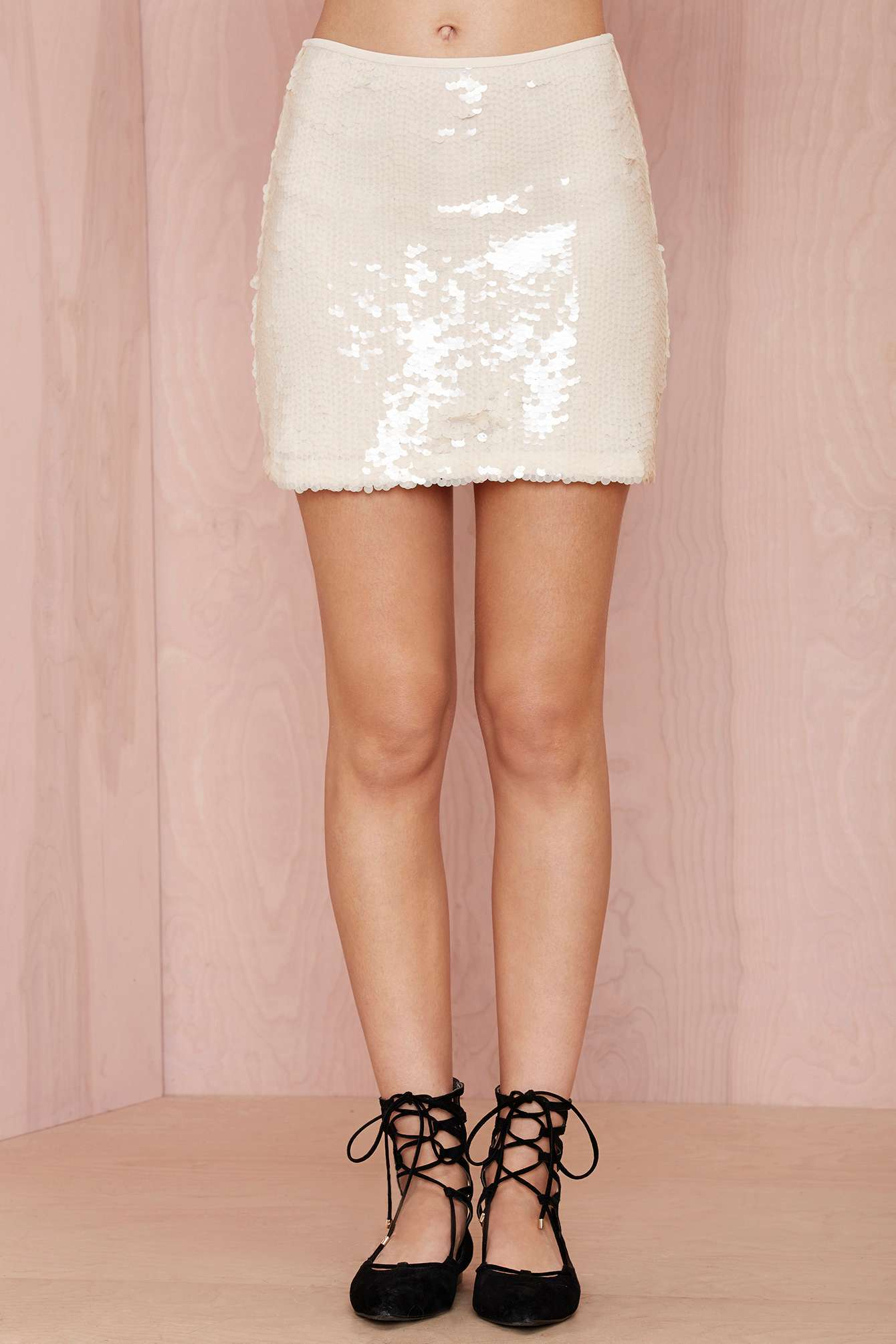 3fc20e59ca Nasty Gal Shiner Sequin Skirt in Natural - Lyst