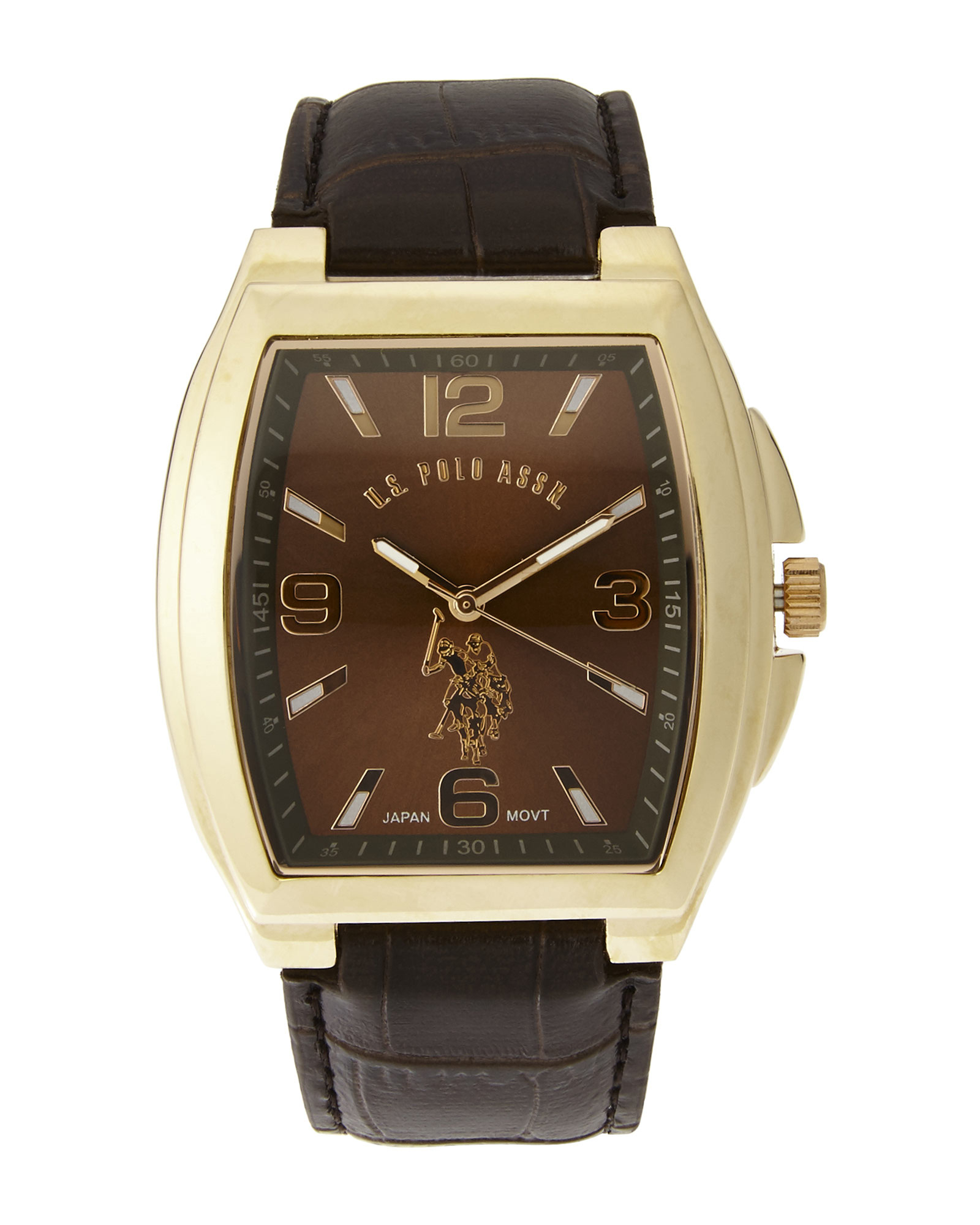 lyst u s polo assn usc50177 gold tone brown watch in. Black Bedroom Furniture Sets. Home Design Ideas