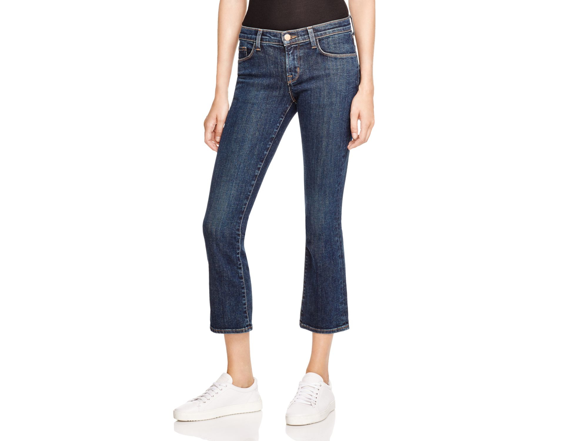 j brand selena cropped bootcut jeans in lonesome in blue. Black Bedroom Furniture Sets. Home Design Ideas