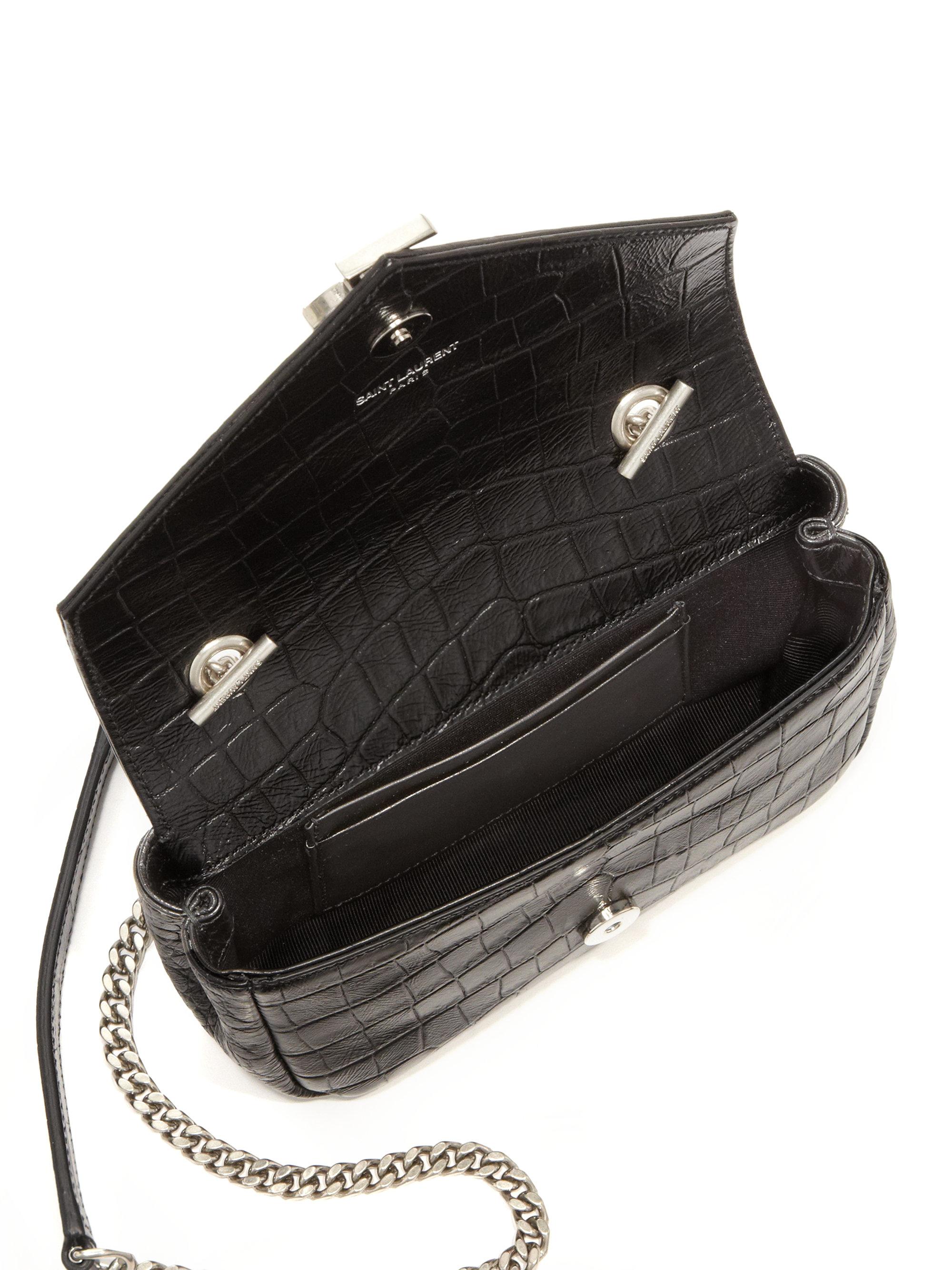 saint laurent purses - monogram saint laurent chain wallet in black crocodile embossed ...