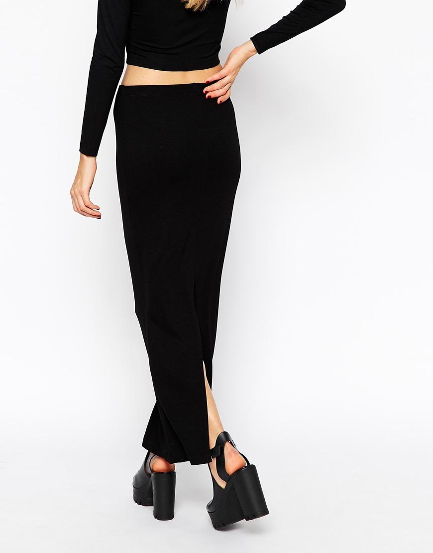 Asos Maxi Pencil Skirt In Rib in Black | Lyst