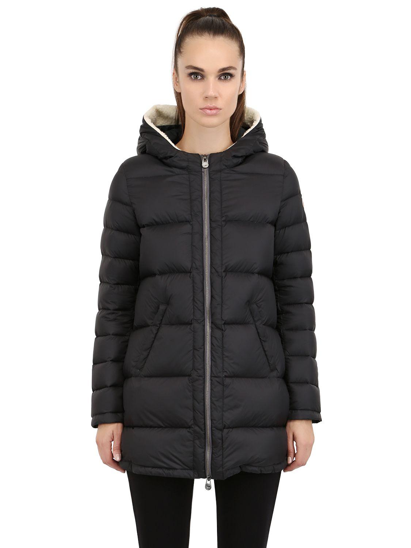 Lyst Colmar Faux Fur Hooded Nylon Down Jacket In Black