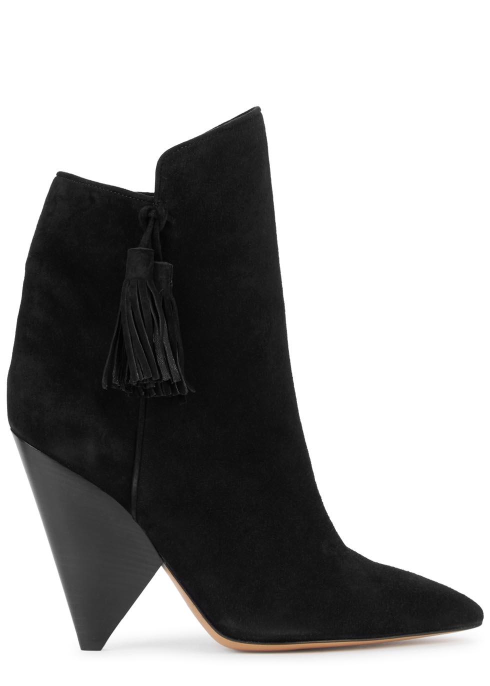isabel marant leyton black tasselled suede boots in black lyst. Black Bedroom Furniture Sets. Home Design Ideas