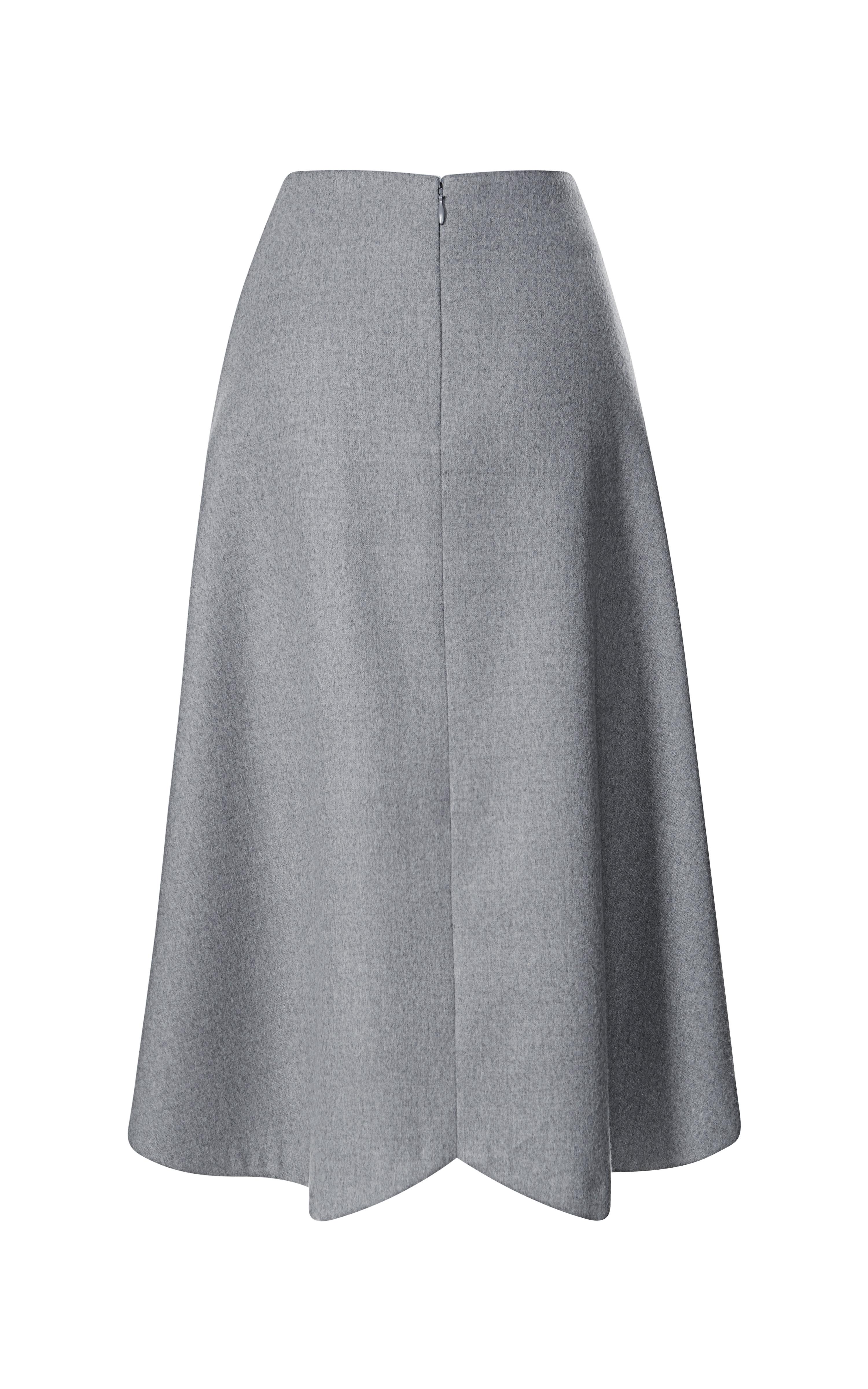 Lyst Rodarte Grey Doubleface Wool Gored Skirt In Gray