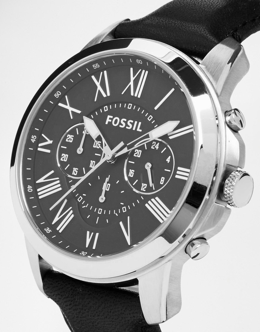 Lyst fossil grant leather strap watch fs4812 in metallic for men for Leather strap watches