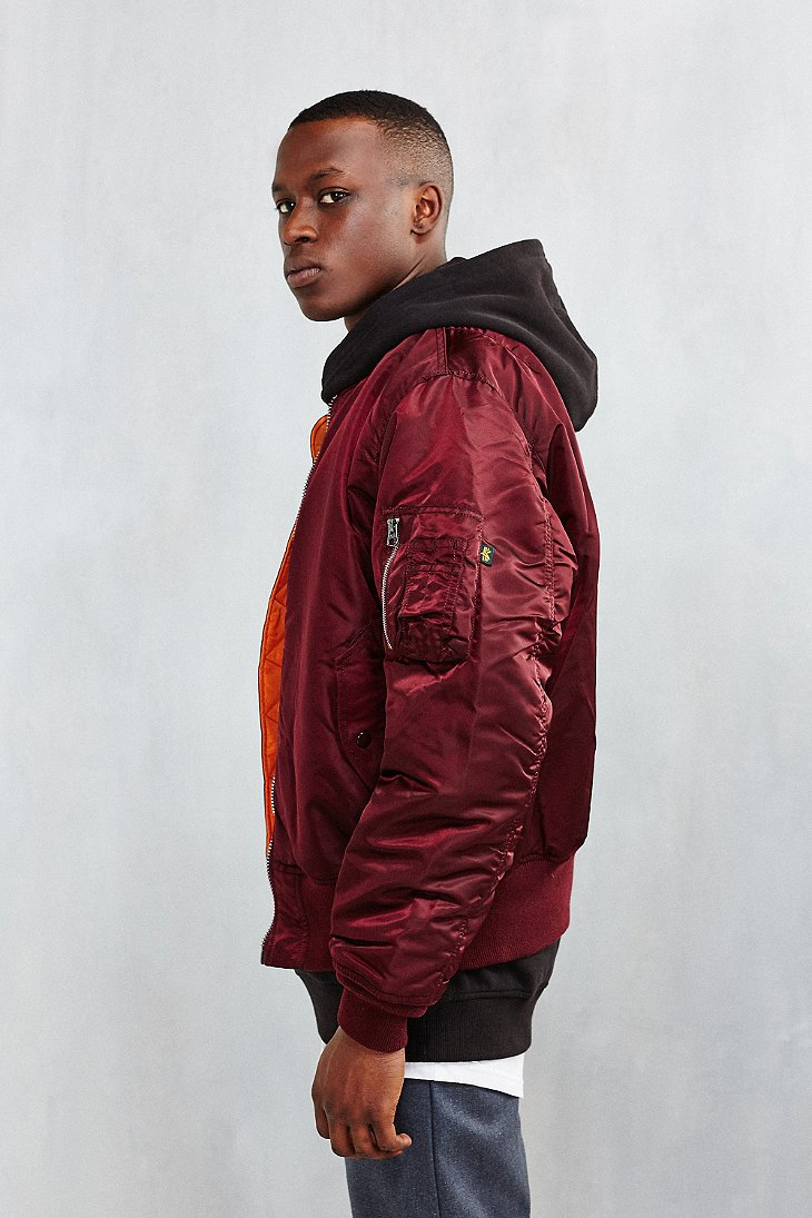 alpha industries classic fit ma 1 bomber jacket in red for. Black Bedroom Furniture Sets. Home Design Ideas