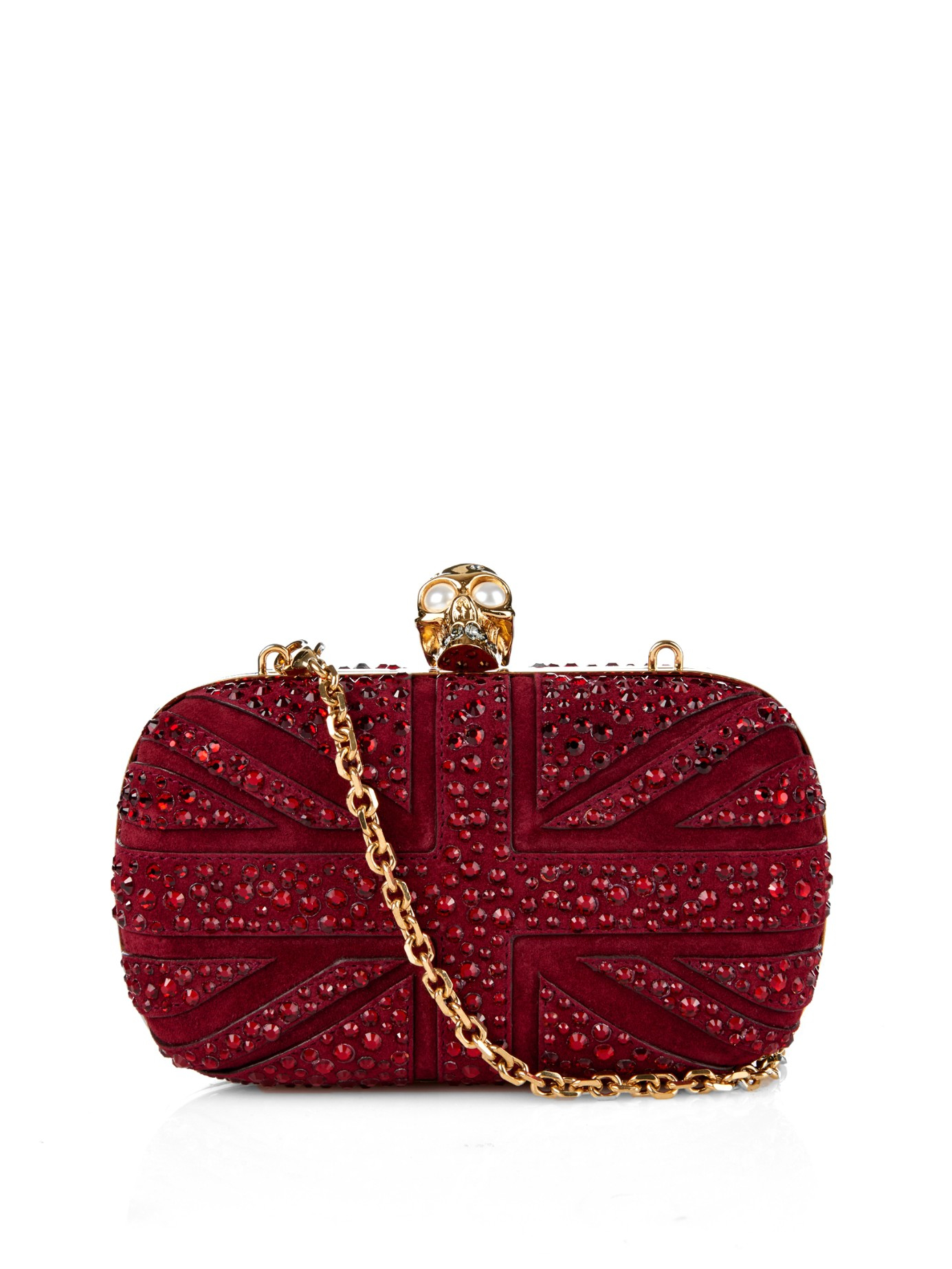 Alexander McQueen pink suede Sue Box embellished clutch Explore Pictures Online Buy Cheap 2018 smU1tP