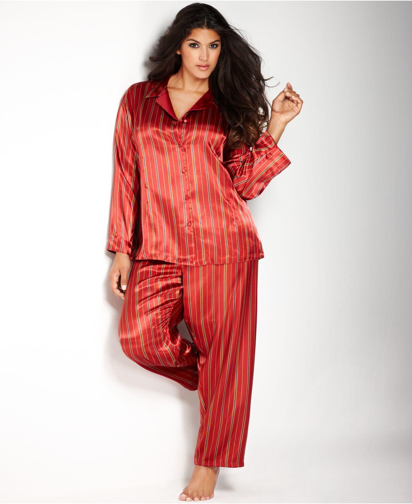 Jones new york Plus Size Printed Satin Pajama Set in Red | Lyst