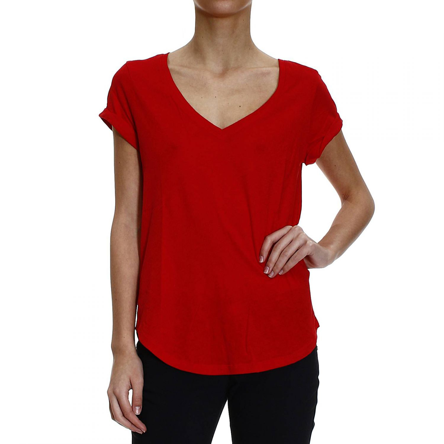 polo ralph lauren t shirt half sleeve v in red lyst. Black Bedroom Furniture Sets. Home Design Ideas