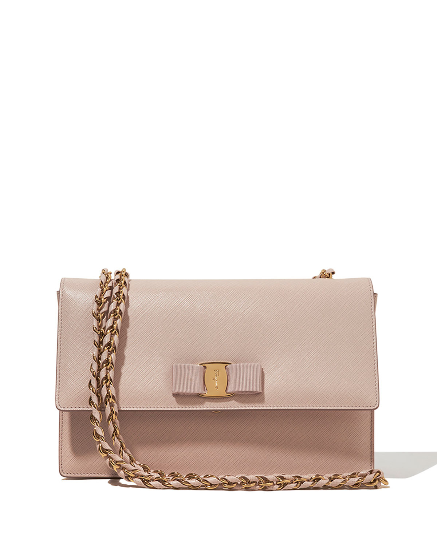 Lyst - Ferragamo Ginny Vara Medium Crossbody Bag in Natural ab15f408a717d