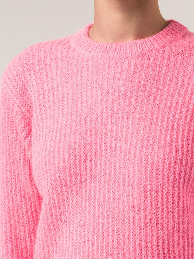 T by alexander wang Ribbed Sweater in Pink | Lyst