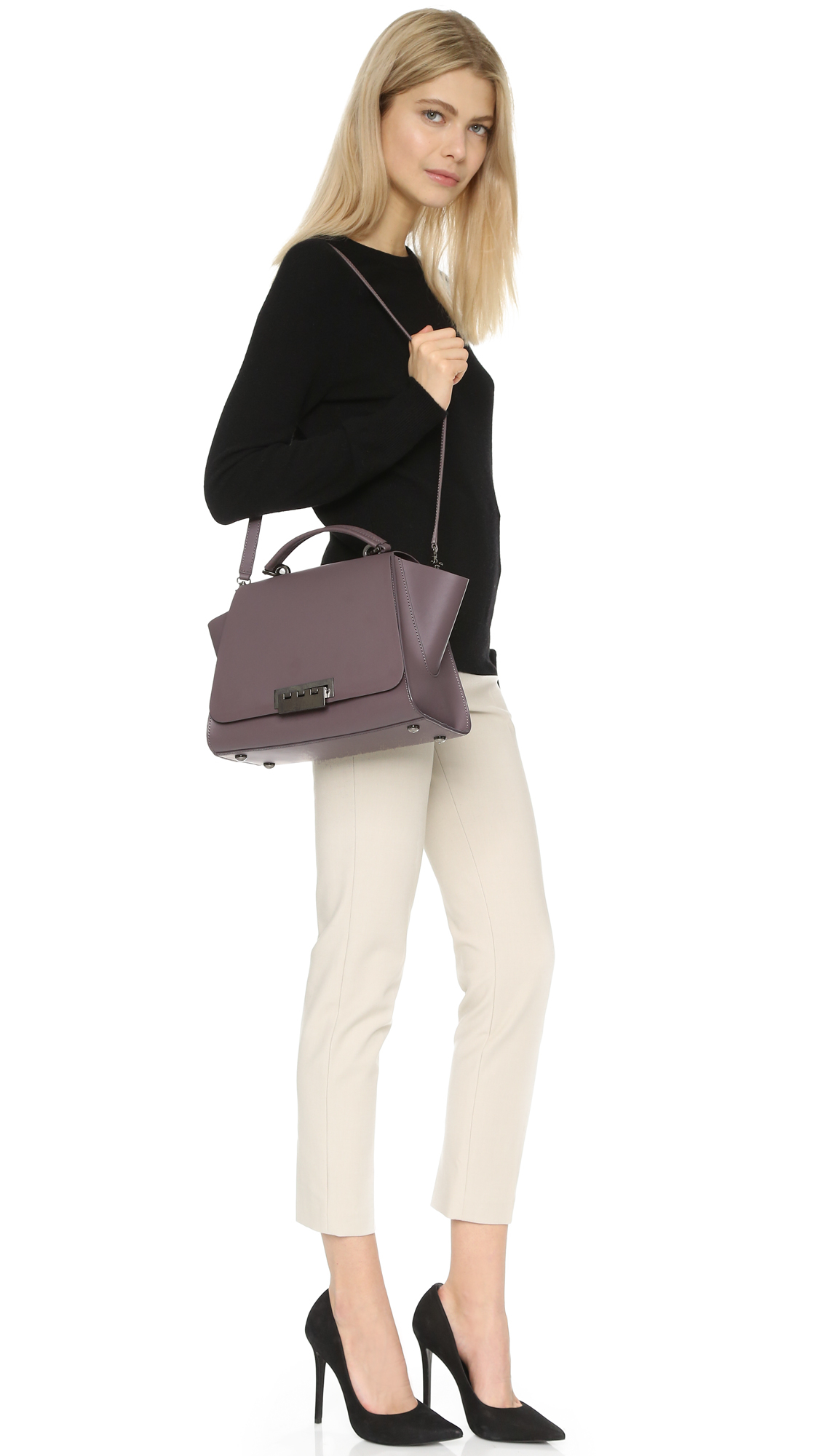 Lyst Zac Zac Posen Earth Soft Top Handle Bag In Gray