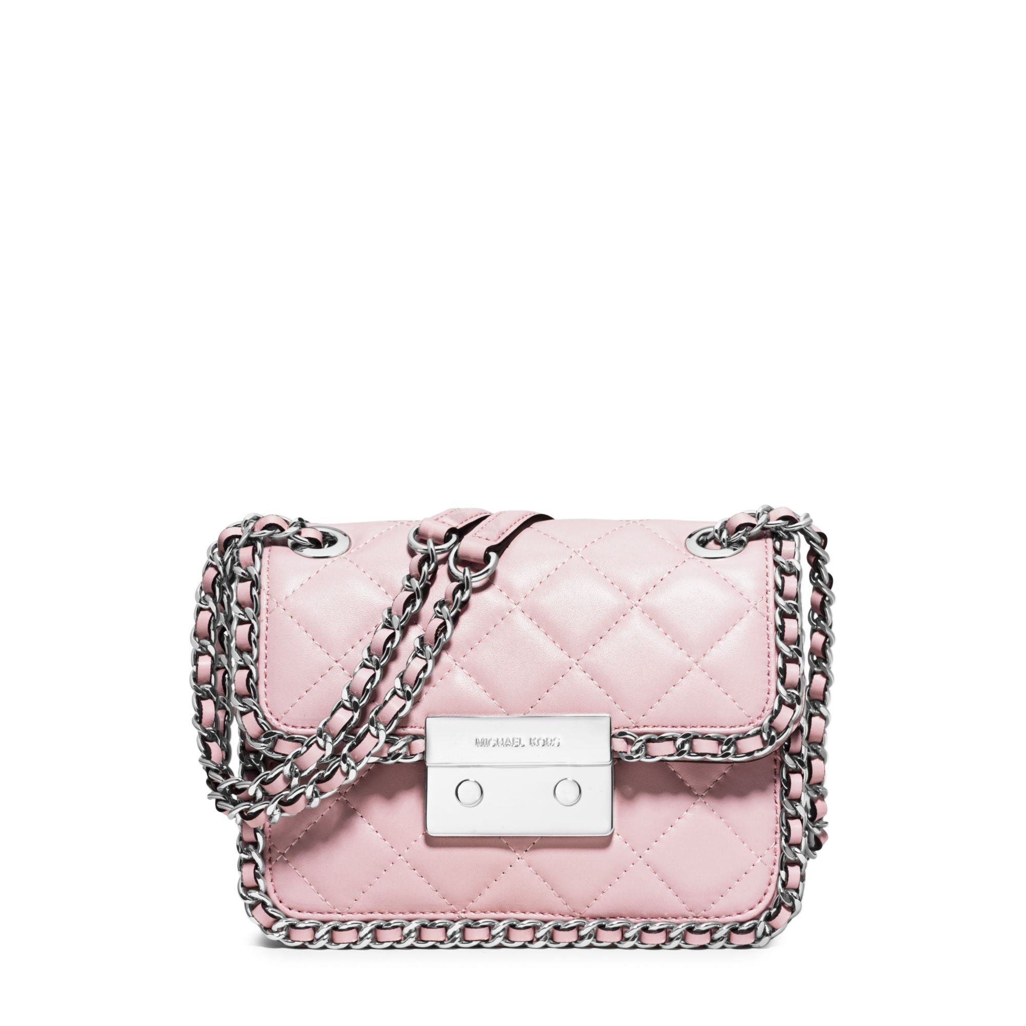 michael kors carine medium quilted leather shoulder bag in pink lyst. Black Bedroom Furniture Sets. Home Design Ideas