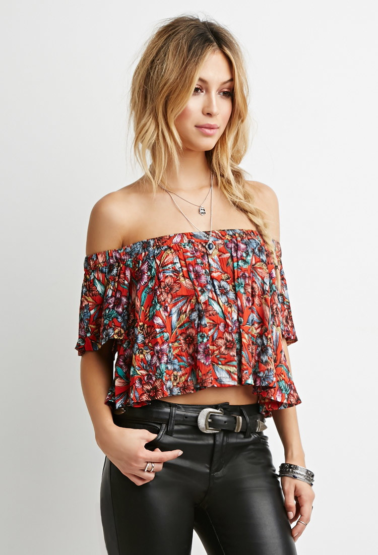 d285a491e574e Lyst - Forever 21 Floral Off-the-shoulder Top in Red