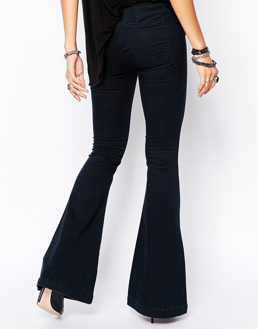 Blank Pull On Bell Bottom Flare Jeans in Blue | Lyst