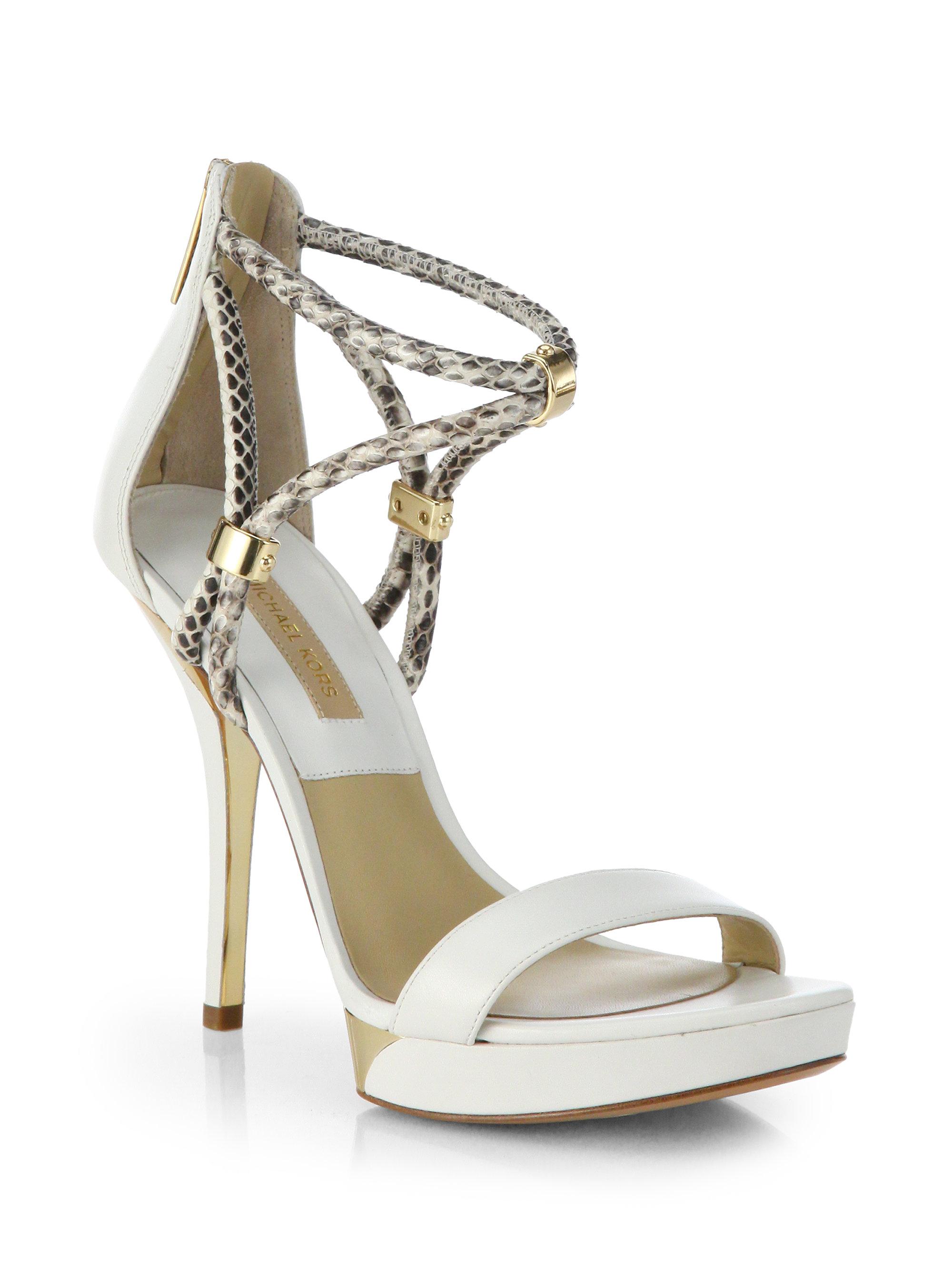 de61382a5b1 Lyst - Michael Kors Fariha Leather Snakeskin Platform Sandals in White