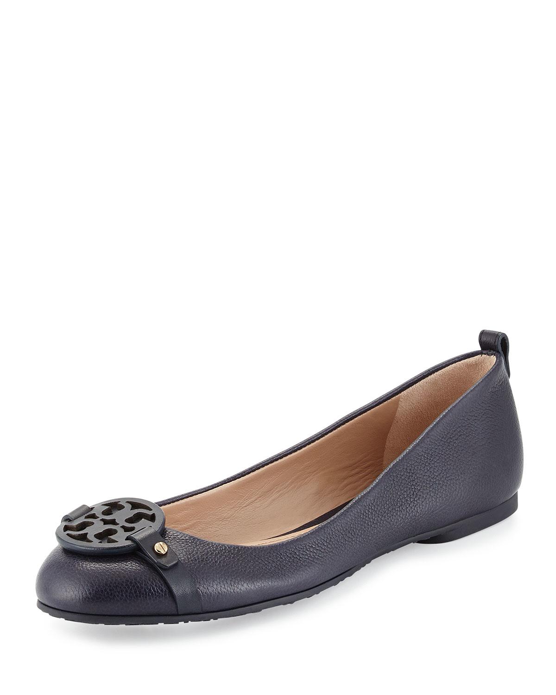 e7509da2ee98 denmark tory burch estella leather wedge sandal c6d4c 236b3  canada lyst  tory burch mini miller leather ballet flats in blue 79aad fc0f5