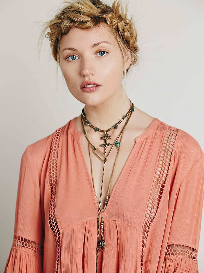 fdc11e08c007 Free People Babydoll Lace Inset Swing Tunic in Pink - Lyst