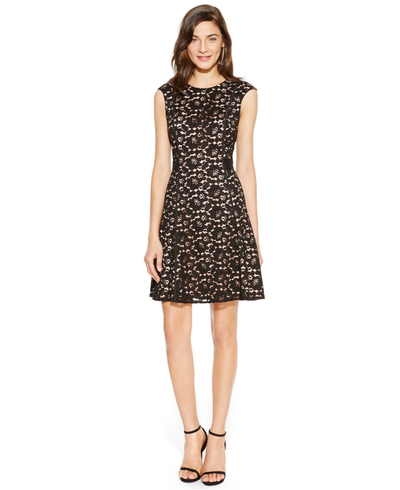 Lyst - Vince Camuto Lace A-line Dress in Black