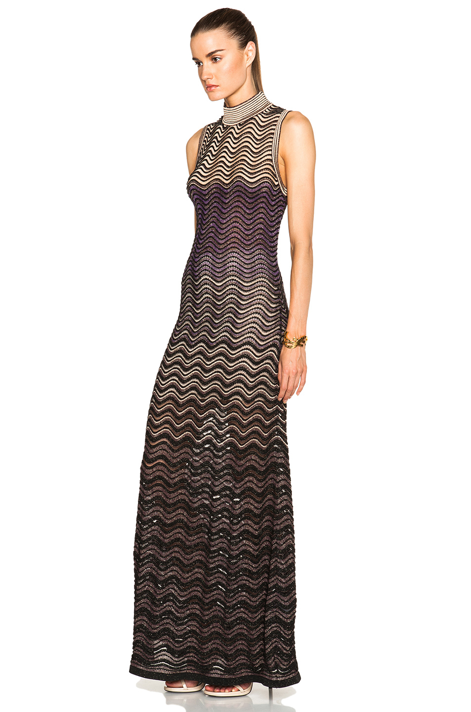 Lyst M Missoni Ribbed Stitch Lurex Maxi Dress In Purple