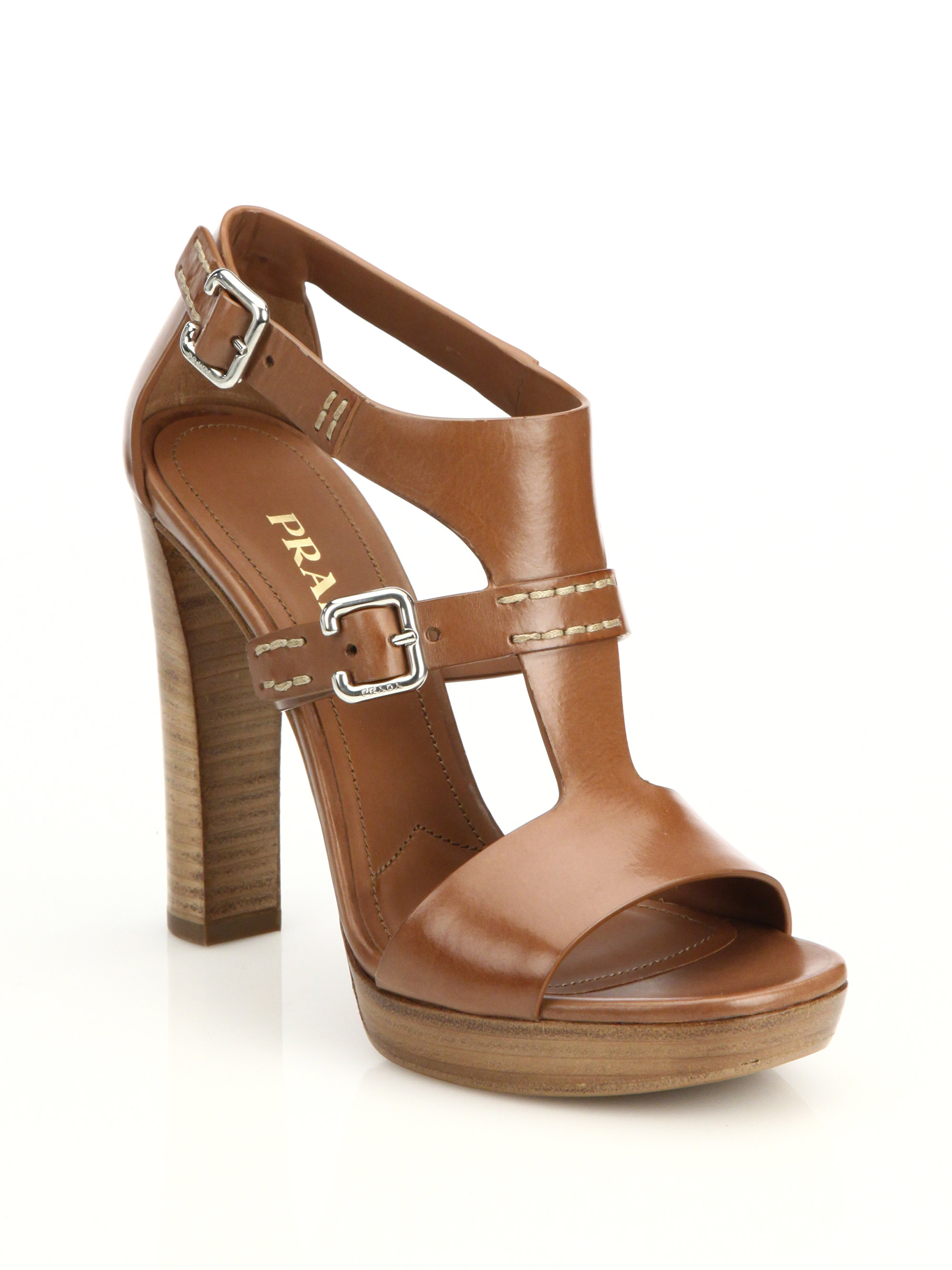 Lyst Prada Leather Stacked Heel Sandals In Brown