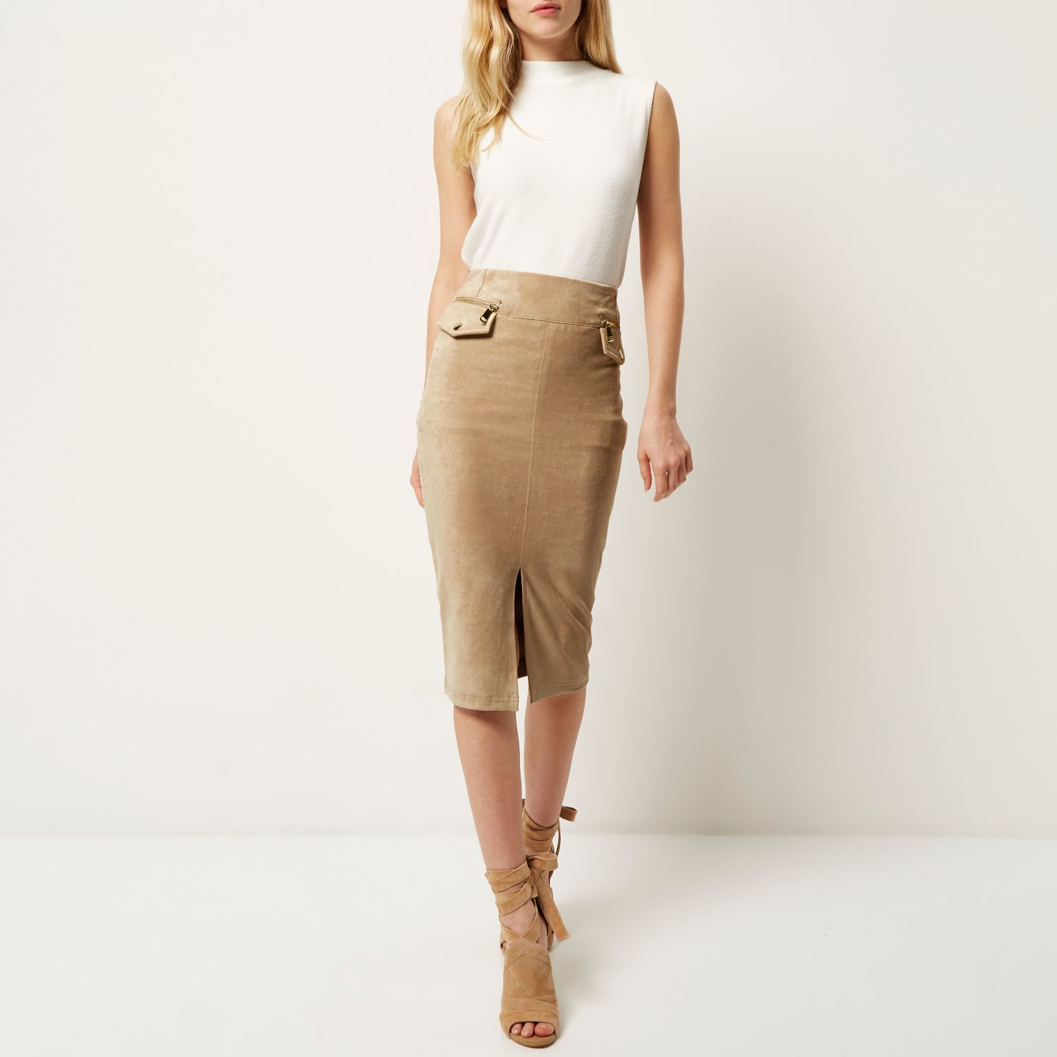 River island Beige Faux Suede Pencil Skirt in Brown | Lyst