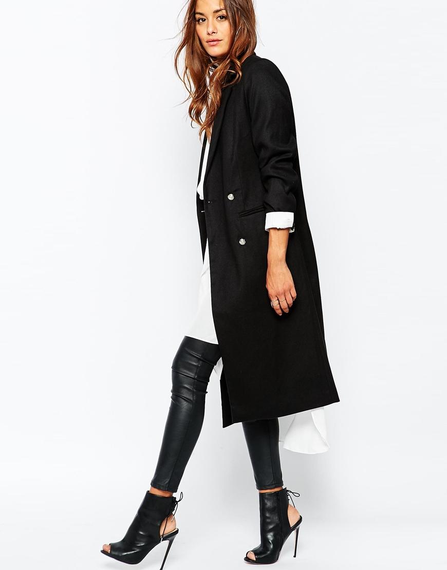 Black Tailored Coat - Black Coat