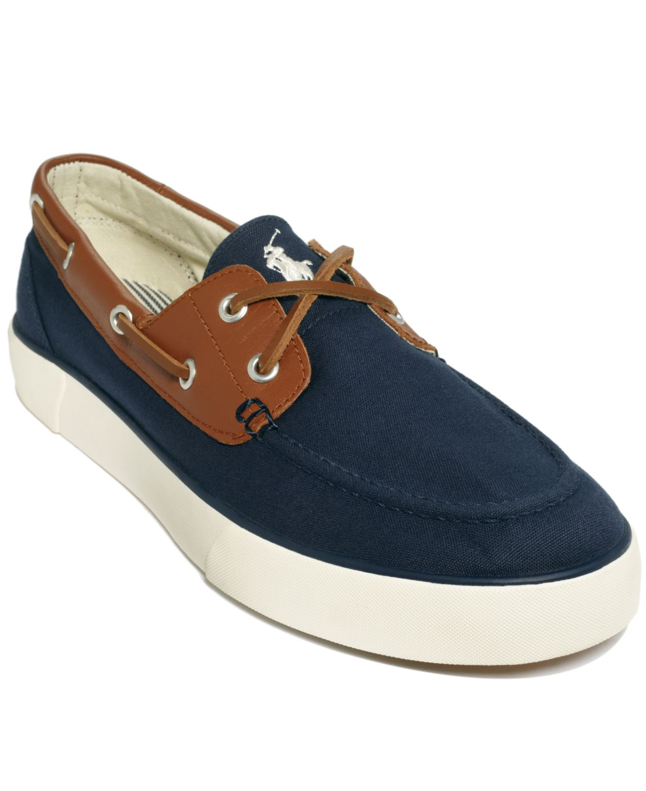 polo ralph rylander boat shoes in blue for lyst