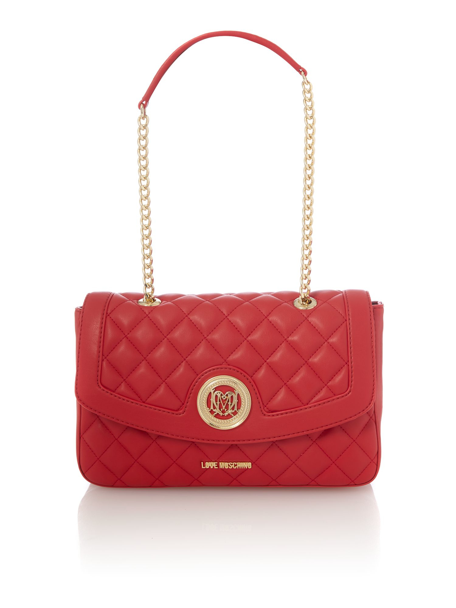 love moschino superquilt red flapover shoulder bag in red lyst. Black Bedroom Furniture Sets. Home Design Ideas