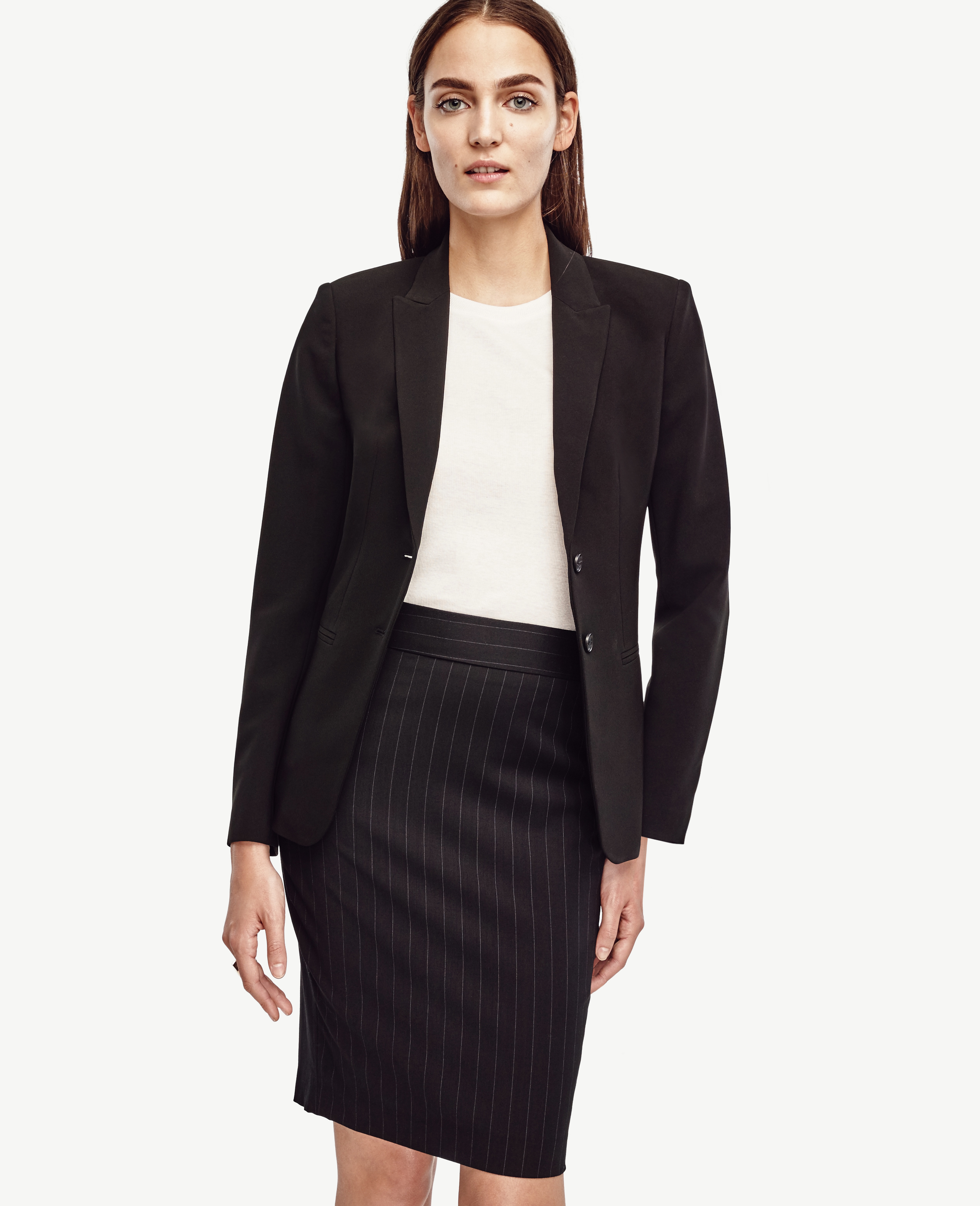 Ann taylor Wool Pinstripe Pencil Skirt in Black | Lyst