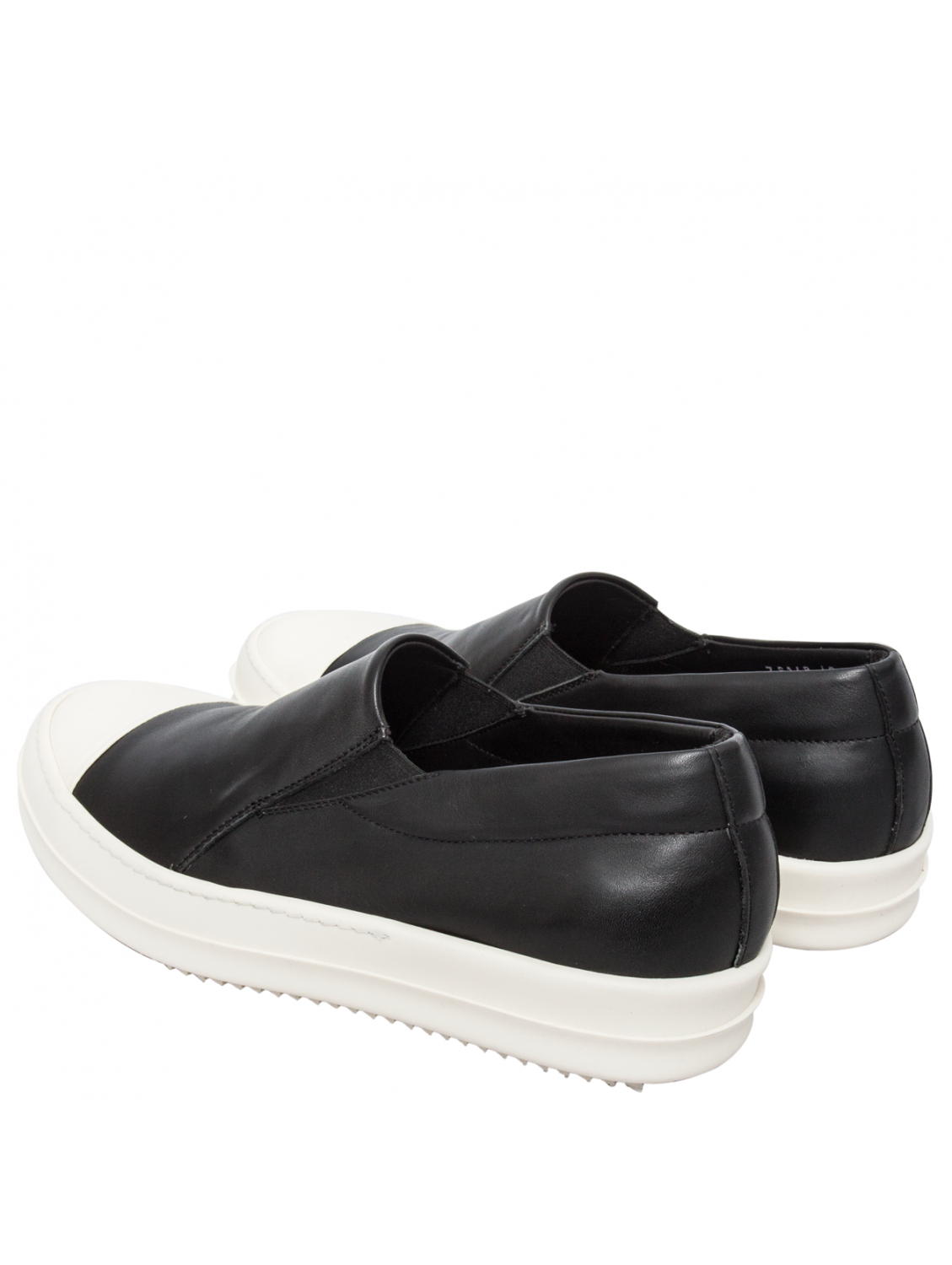 rick owens mens leather boat sneakers black in black for