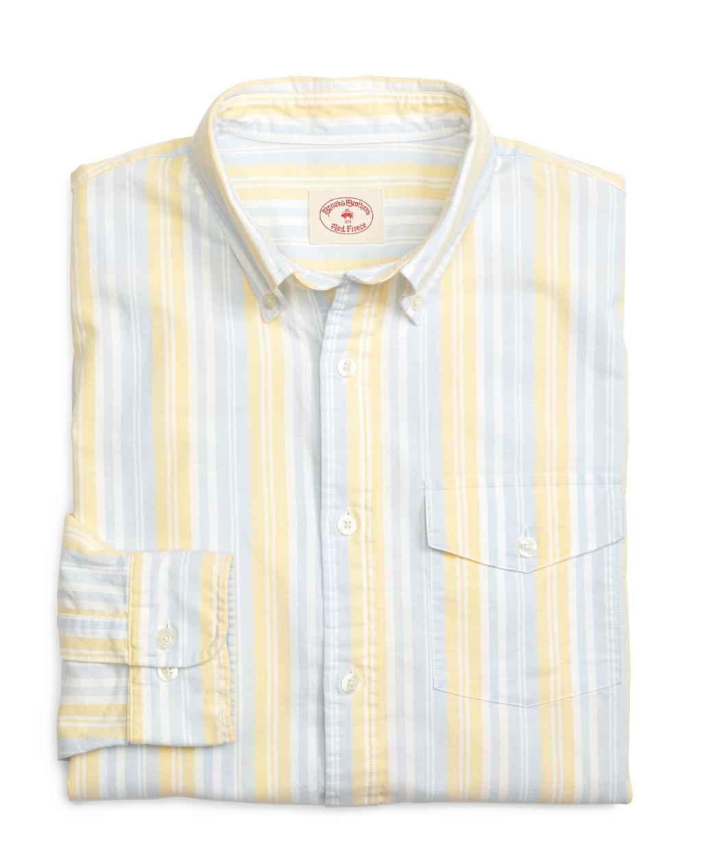 Lyst brooks brothers supima cotton stripe sport shirt for Brooks brothers sports shirts