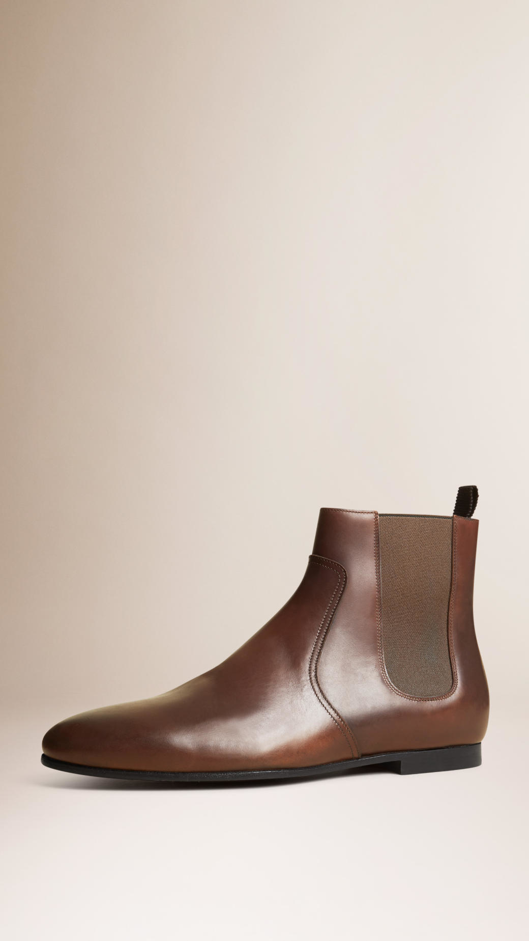 Burberry Leather Chelsea Boots Peppercorn In Brown For Men