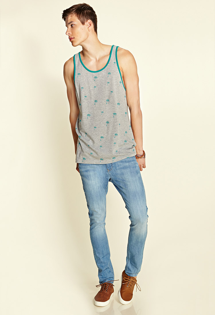 f0ef13a3fdf1a6 Lyst - Forever 21 Palm Tree Tank Top in Gray for Men
