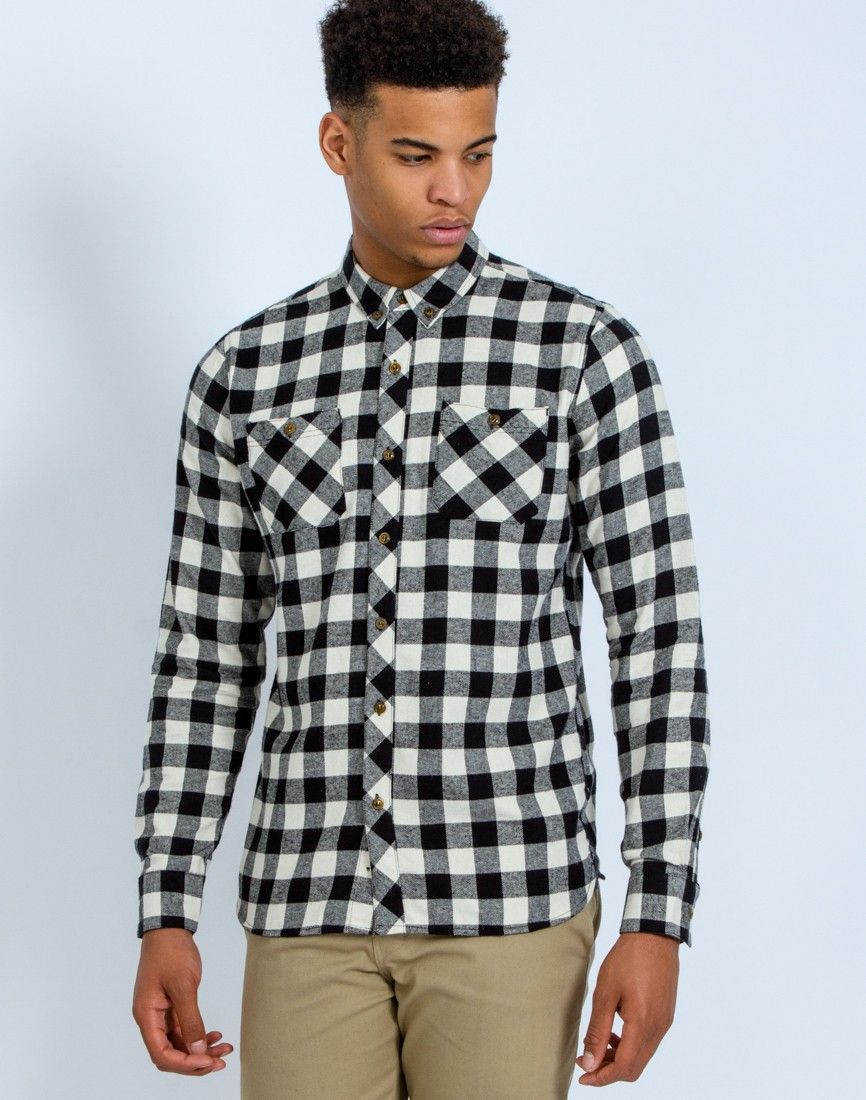 The idle man check shirt white in black for men lyst for Black and white check mens shirt