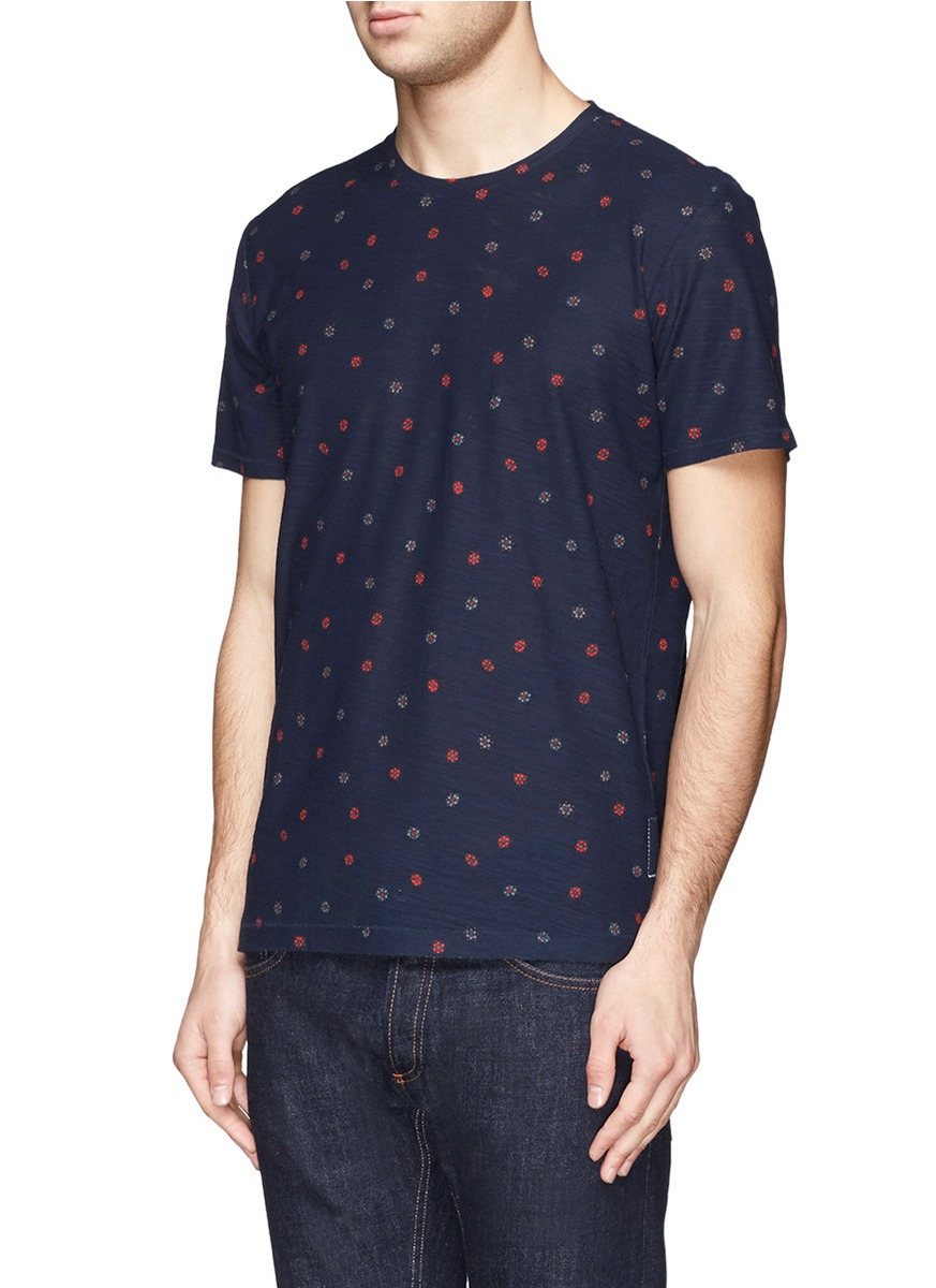 Rag Bone Floral Polka Dot Print T Shirt In Blue For Men