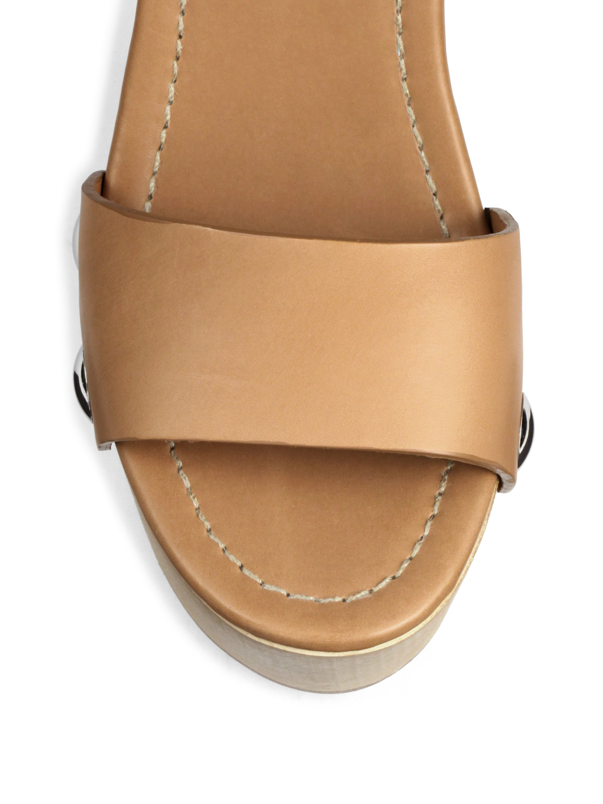 prada wooden heel leather platform sandals in brown