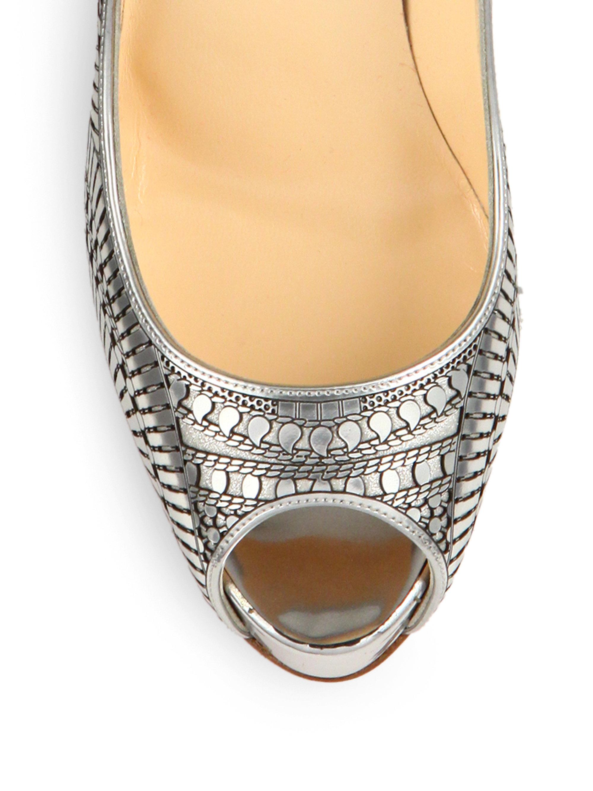 where can i buy louboutin replicas - Christian louboutin Suellena Laser-cut Metallic Leather Peep-toe ...